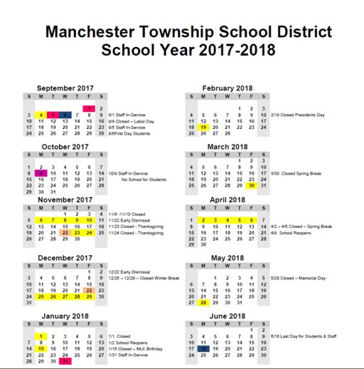 2017 18 District Calendar Approved | Articles   Manchester