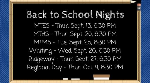 Parents Invited to Back to School Nights