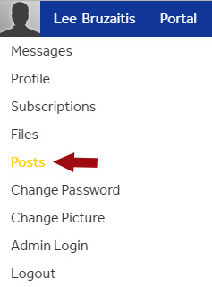 Profile dropdown menu showing POSTS